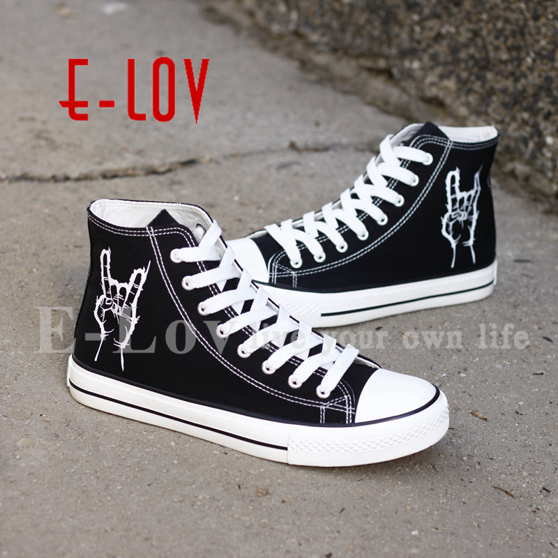 E-LOV 2017 New Arrival Hip Hop Rock Music Printed Shoes Casual Canvas Flat Shoe For Women Girls Design Graffiti Shoes printed assassins creed canvas shoes fashion design hip hop streetwear unisex casual shoes graffiti women flat shoe sapatos