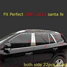 Fit for Hyundai Santa fe 2007 2012 Stainless Window Frame Sill Trims Glass Strips Window Center