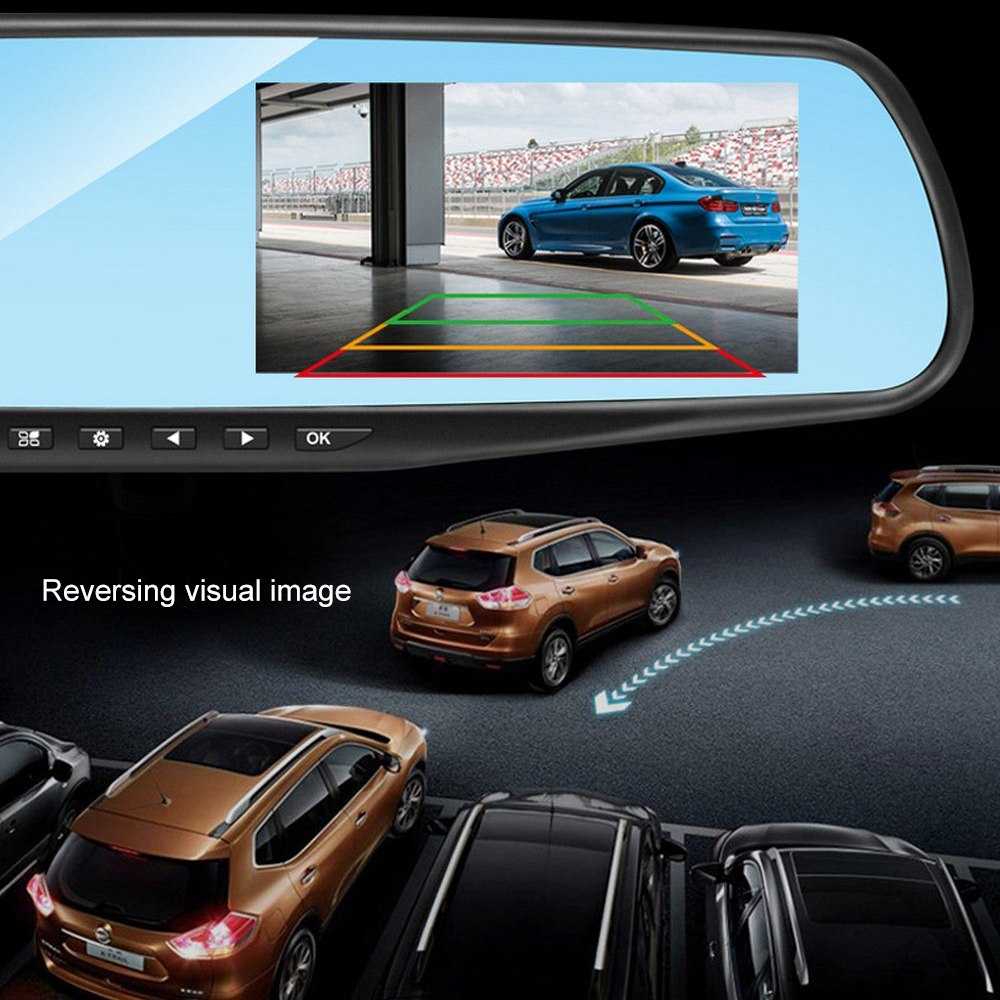 Image 5 - Driving Recorder Car DVR Camera Mirror 4.3 Inch Full HD 1080P 170 ° Wide Angle Dual Lens Reversing Video Recorder Cycle Video-in DVR/Dash Camera from Automobiles & Motorcycles