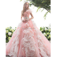 New Pink Quinceanera Dresses 2019 One Shoulder Ball Gown Beadings Ruffles Sweet 16 Dresses Debutante Gown Dress For 15 Years