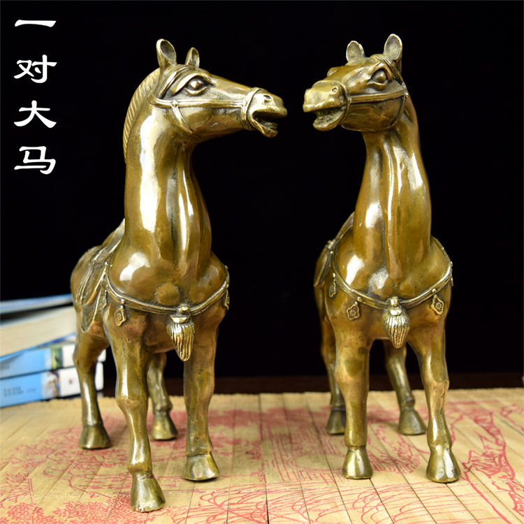 decoration Copper 2PC Horse Pony Ma old antique ornaments large brass horse Crafts Casting Brass Antique Old shipping hor
