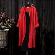 2018 nuevas chaquetas de algodón y lino para primavera y verano Retro cárdigan de manga larga con protección solar abrigo camisa transpirable A266