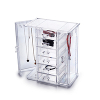 Transparent Acrylic Earring Stand Pendant Shelf High Quality Jewelry Storage Box Display Ear Stud Necklace Stand Storage Case