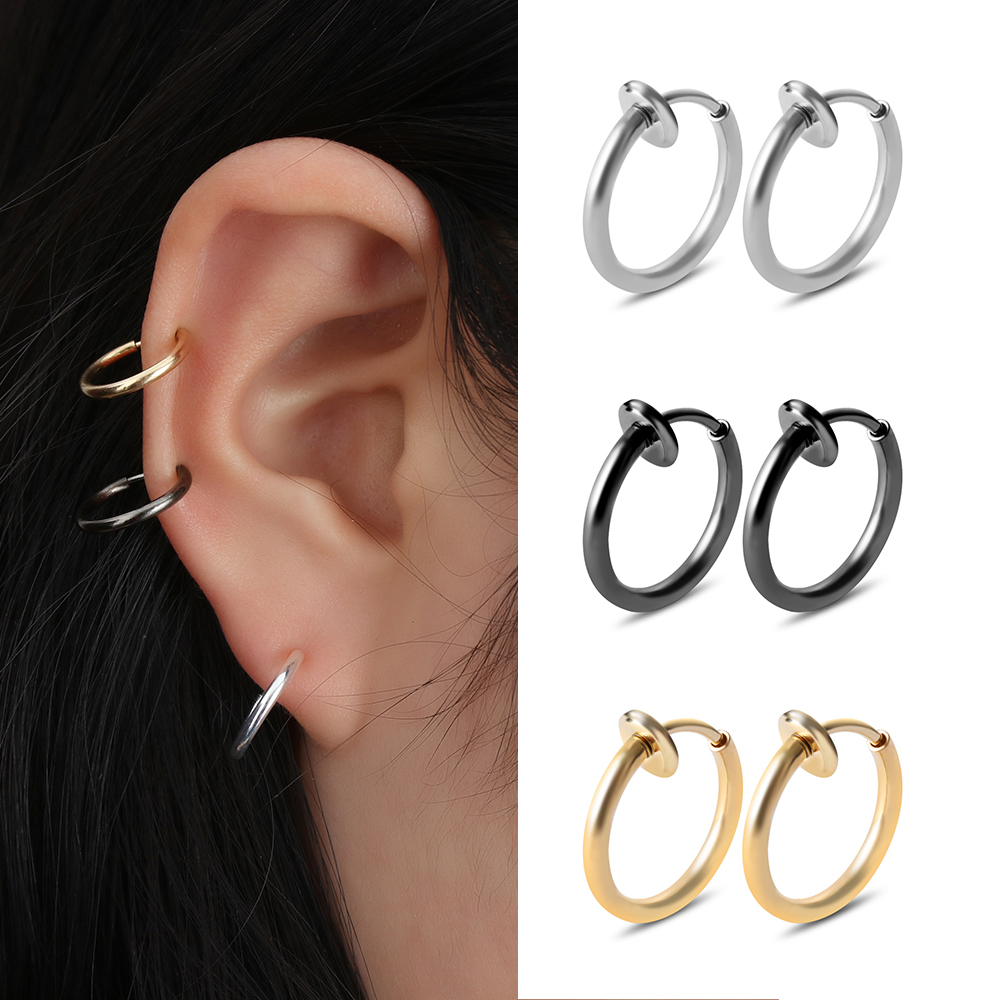 2pcs Fake Nose Ring Goth Punk Hoop Rings Earring Lip Ear Nose Clip