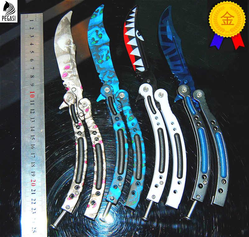 Нож-бабочка cs go balisong Karambit, складной нож, тренировочный нож, не заточенный