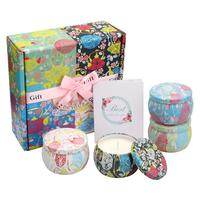 DSstyles 4Pcs/Set Eco friendly Smokeless Floral Essential Oil Aromatherapy Candles