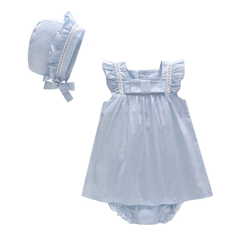Picturesque Childhood Baby Romper Summer Girl headbands Cotton Floral Baby Set 2pcs With Hat Blue Sleeveless Bowl style