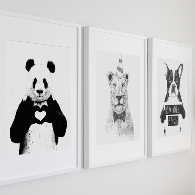 Nordic sketch animal party lion dog panda canvas painting no framed nordic sketch animal party lion dog panda canvas painting no framed art prints poster wall picture malvernweather Image collections