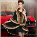 Winter Women Sweater Cardigan Female Fox Fur Collar Poncho Cape Bridal Wedding Wool Shawl Cape