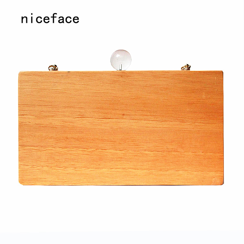 2017 New brand fashion Women messenger bags popular Round glass solid evening bag Vintage wallet elegant wooden casual Clutch