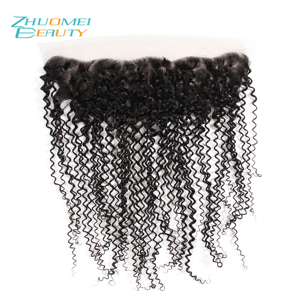 Zhuomei BEAUTY Lace Frontal Closure Brazilian Kinky Curly Hair 13x4 Ear to Ear With Baby Hair 100% Remy Human Hair 10-20inch