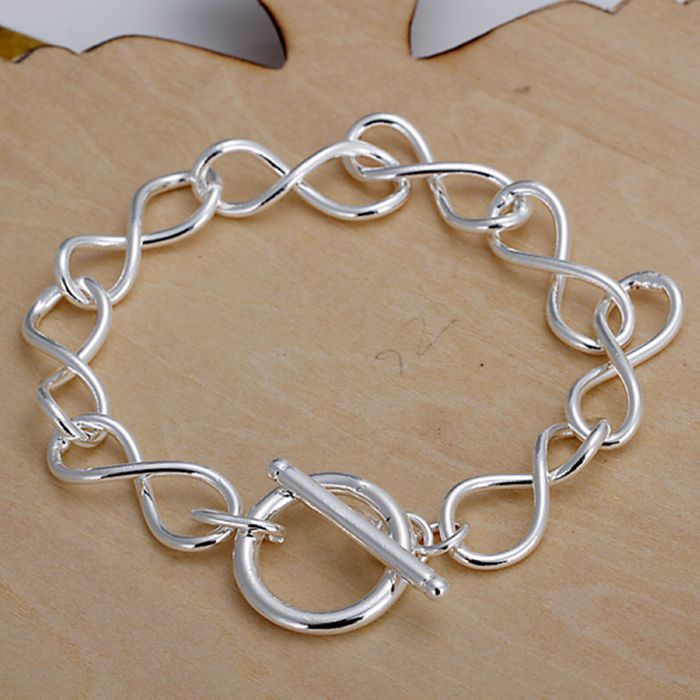 925 Jewelry Silver Plated Bracelet,silver Fashion Jewelry 8 Shape Bracelet /gilocwvb Qwfmnwrv Bright And Translucent In Appearance Jewelry & Accessories Bracelets & Bangles