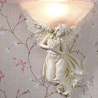 Европейский стиль светодио дный Амур Ангел светодиодные Настенные светильники Расписанную смолы ночники бра внутреннего освещения Lampara ср