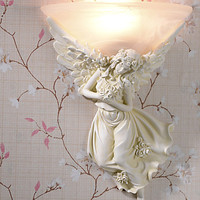 European Style Cupid Angel LED Wall Light Fixtures Handpainted Resin Bedside Lamp Wall Sconces Indoor Lighting Lampara Pared