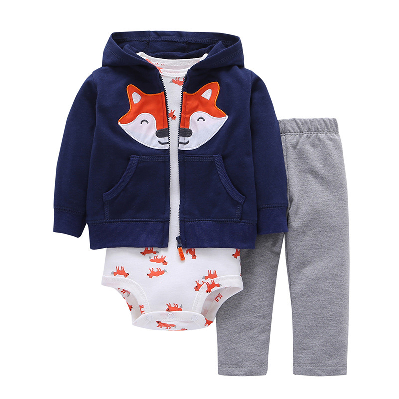 Newborn Clothes 2018 Autumn Winter Warm Baby Boys Clothes Set Coat+Bodysuit+Pants 3pcs Baby Girls Outfits Suit Infant Clothing