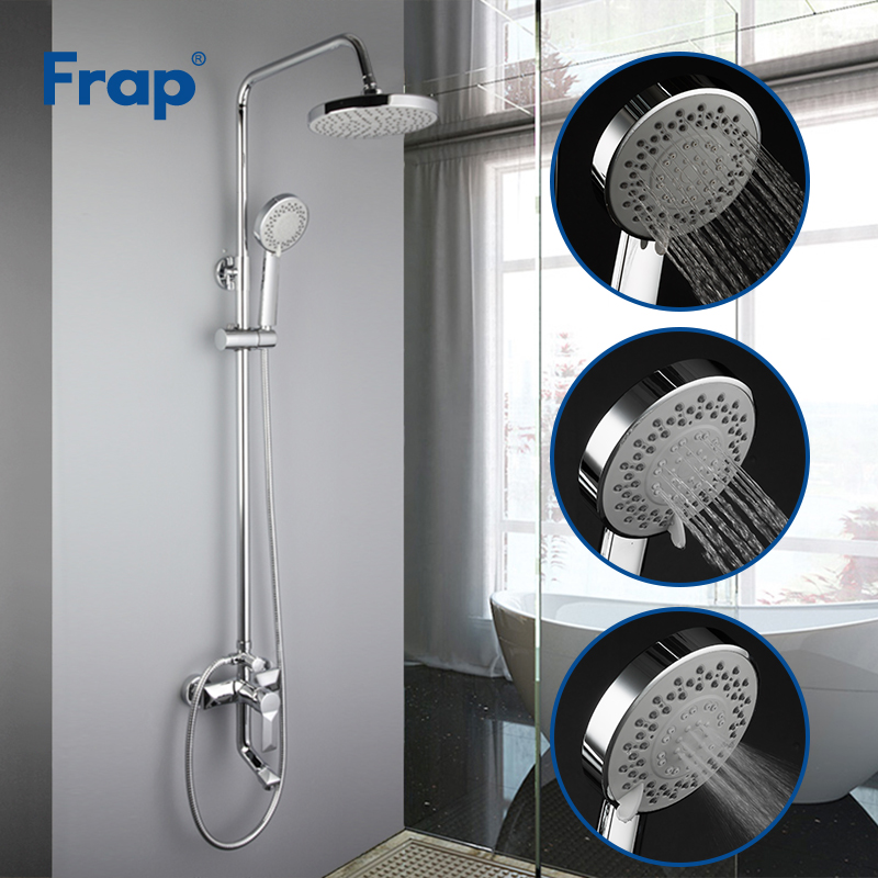 Permalink to FRAP Sanitary Ware Suite contemporary style bathroom shower faucet bath shower mixer system with rainfall shower head tapware