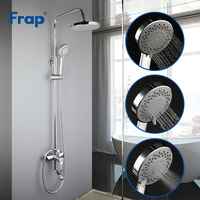 FRAP Sanitary Ware Suite contemporary style bathroom shower faucet bath shower mixer system with rainfall shower head tapware
