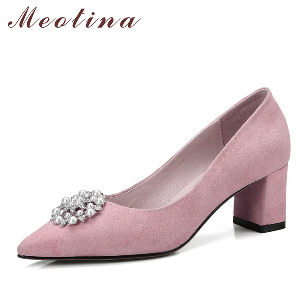 Meotina Genuine Leather Women Pumps Pearl High Heels Crystal Thick Heels Pointed Toe Kid Suede Work Shoes Black Big Size 34-42 pearl high heels shoes thick green women strange suede abnormal catwalk genuine leather pointed toe strap mary jane lace up