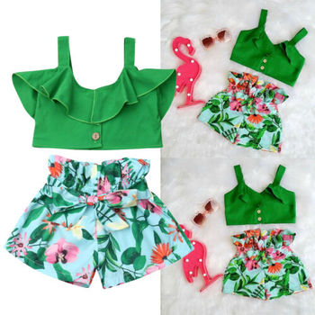 Emmababy Brand Toddler Baby Girls Floral Vest Falbala Sleeveless Off Shoulder Crop Tops Floral Printed Shorts Outfits Clothes 5