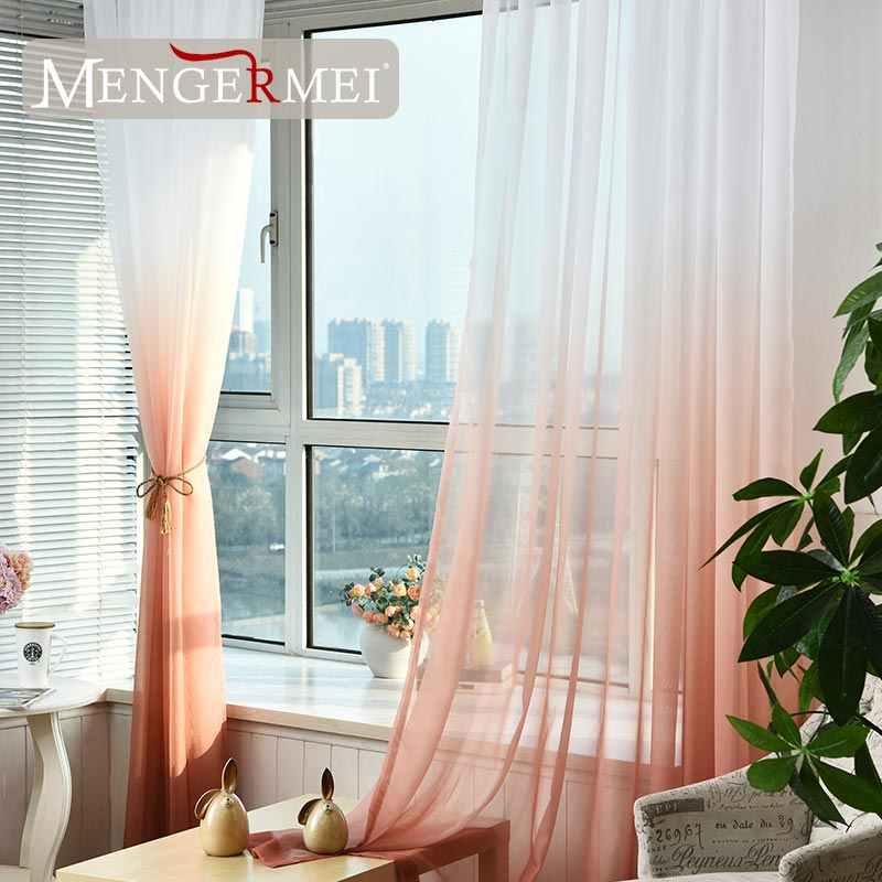 MENGERMEI 5 цветов тюль шторы для гостиной Rideaux украшения окна Tende кухонный делитель гариент цвет дома XC-01