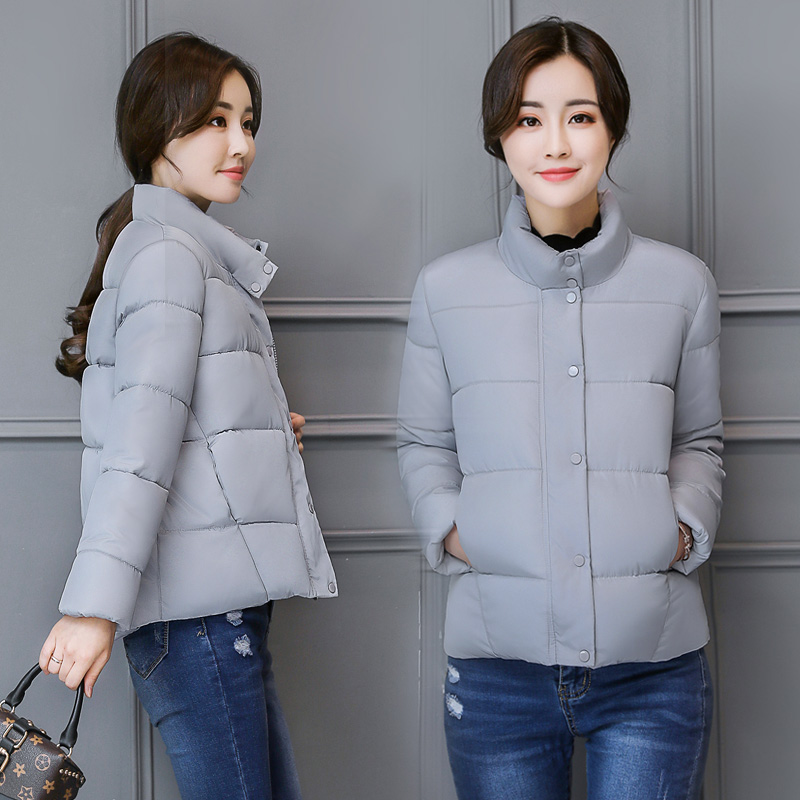 Autumn Winter Short Women Solid Color Long Sleeve Warm Stand Collar Slim Students Trendy Small Cotton Jacket Mujer   Parkas   MZ1941