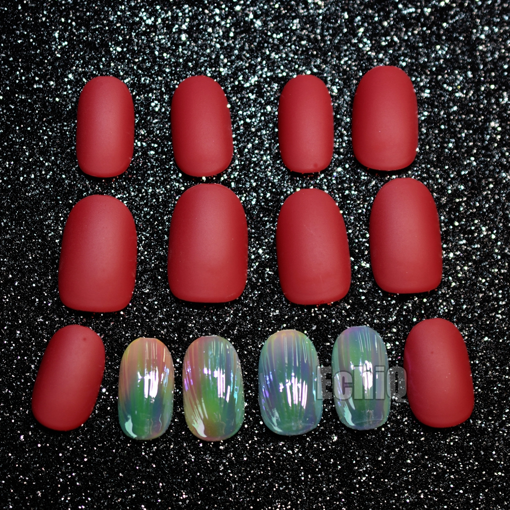 28pcs Blood Red Matte Pre Designed Nails Clam Shell Design Short