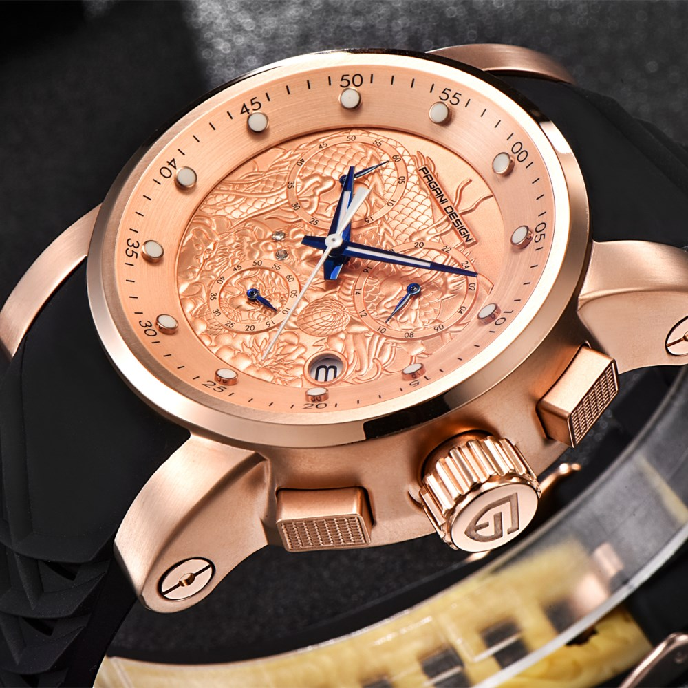 PAGANI DESIGN New Luxury Brand Watches Chinese Dragon Calendar Waterproof Silicone Quartz Rose Gold Watch Men Relogio Masculino new design chinese