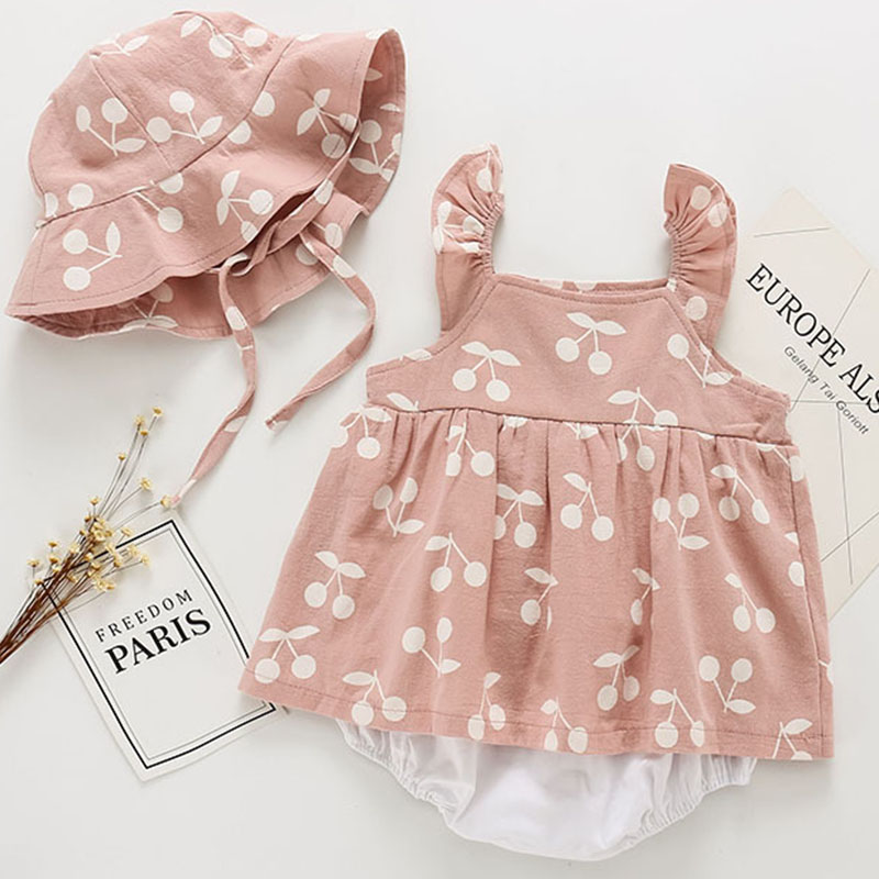 New Baby Rompers New Summer Clothes Fashion Cute Cherry Prints Baby Jumpsuit Kids Clothing Rompers Newborn With Hat Jumpsuits