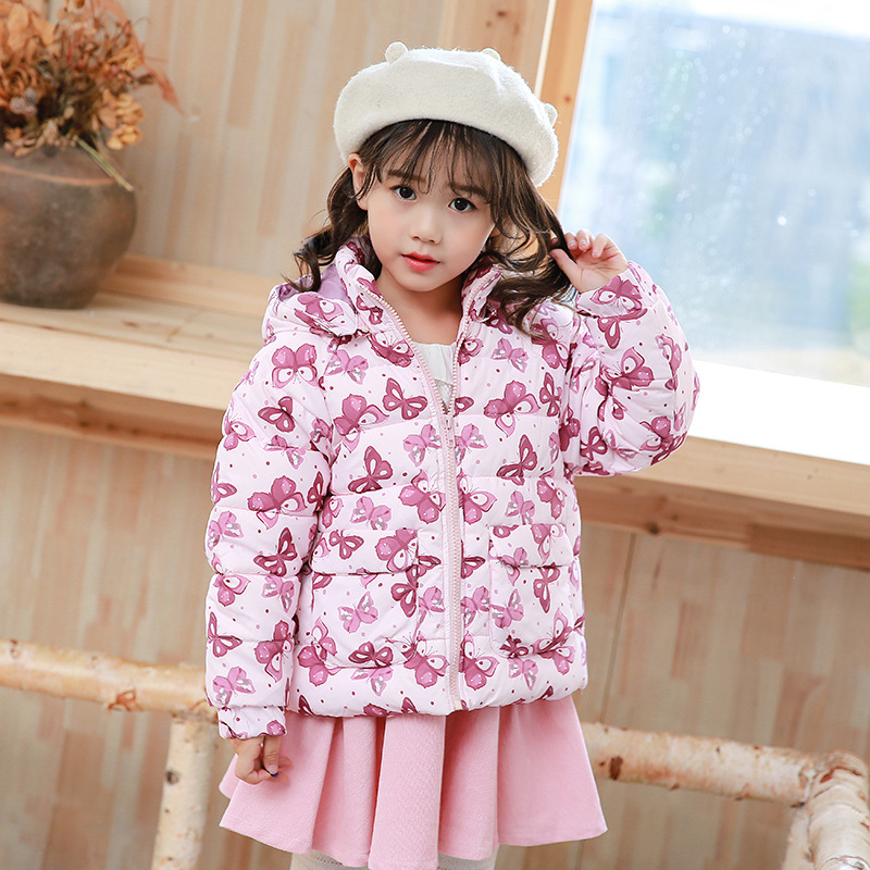 Children's Winter Cotton Floral Coat Clothes Baby Kids Girl Warm Parkas Down Long Hooded Jacket Toddler Girls Outwear Outfit 2017 new fashion girls winter warm coat kids jacket hooded snow wear cotton down outerwear girl solid color winter clothes