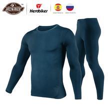 Herobiker зимний для мужчин флисовая подкладка термобелье комплект мотоцикл лыжный базовый слой теплые рубашки и топы нижний костюм 3 цвета