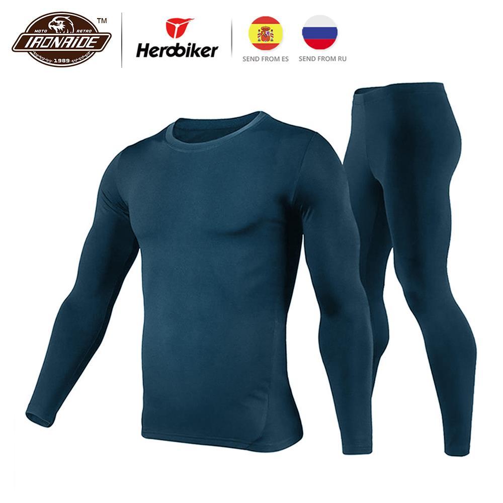 Herobiker inverno masculino velo forrado conjunto de roupa interior térmica motocicleta esqui camada base quente camisas & topos terno inferior 3 cor