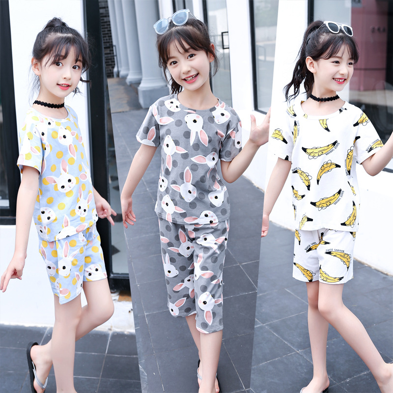 a9dcef19091 2018 Summer New Style Kids Girls Cute Cartoon Print 4 Styles Pajamas Suit  Girls Short-