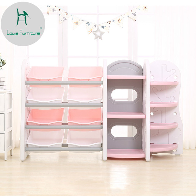 Louis Fashion Childrens Toys Storage Frame Plastic Garage Kindergarten Recorder Shelf Multi Storey Baby Bookshelf Pictorial