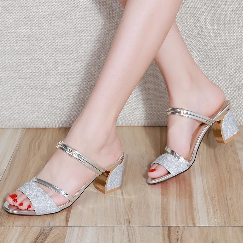 HTB1TdqiaiHrK1Rjy0Flq6AsaFXa1 High Heel Sandals Women Shoes Peep toe Square Heels Ladies Sandals 2019 Summer Shoes Woman Fashion Heel 6cm A645