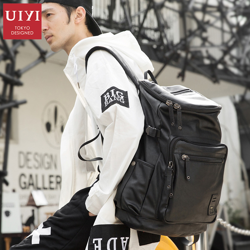 UIYI PU Leather Travel Bag Men's Backpack Men 14-inch Laptop Backpack Male Schoolbag Travel Bag Bucket Leather Backpack yeetn h 2017 new ma n backpack grain pu leather black fashion backpack travel bag for male free shipping y1185