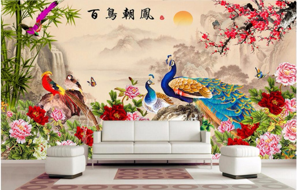Custom mural 3d wallpaper chinese bird collection flowers for Chinese mural wallpaper