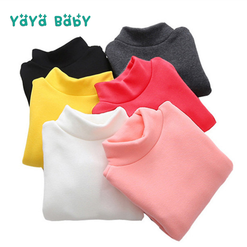3 4 5 6 7 8 Years Boys Girls T-shirts 2018 New Casual Turtleneck Children Shirts Clothing Long Sleeve Warm Toddlers Kids Tops turtleneck 3 4 sleeve cut out midi dress