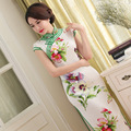TIC-TEC chinese traditional women vintage print cheongsam long qipao oriental dresses elegant formal evening clothes P3007