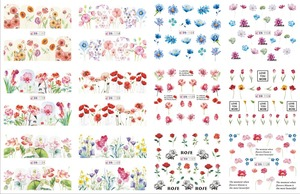 Image 3 - 12 Designs/Set Water Decals Nail Slider Flora/ Cartoon/ Geometric Watermark  Nail Sticker Decoration Wraps Manicure BN1117 1212