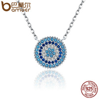 BAMOER Popular 925 Sterling Silver Round Blue Crystal Lucky Blue Eyes Women Pendant Necklaces Authentic Silver