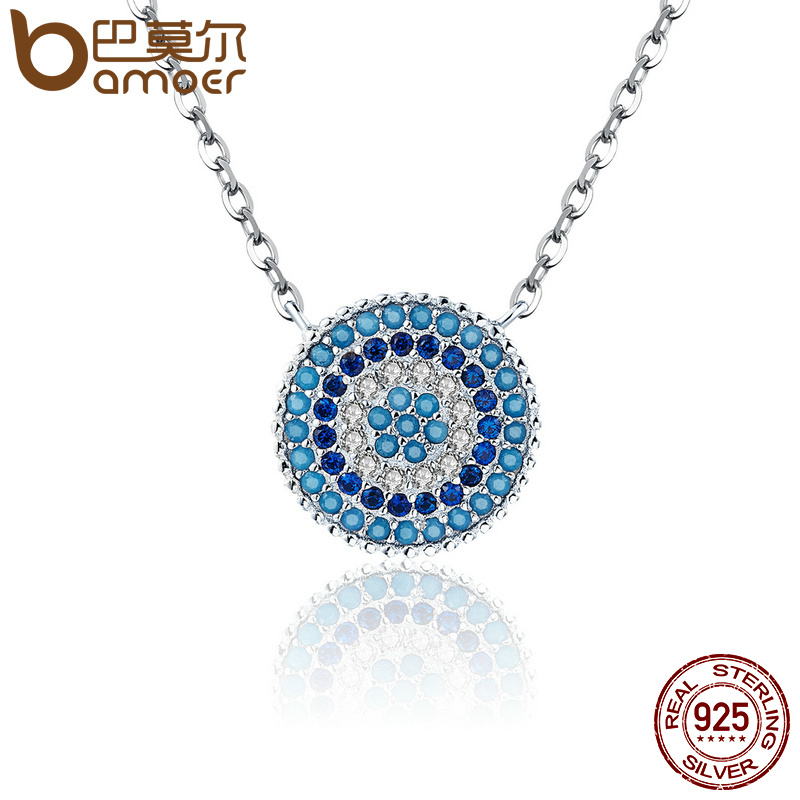 Bamoer Популярные стерлингового серебра 925 Круглый синий кристалл повезло синий Средства ухода для век Для женщин Подвески Аутентичные Серебряные ювелирные изделия scn099