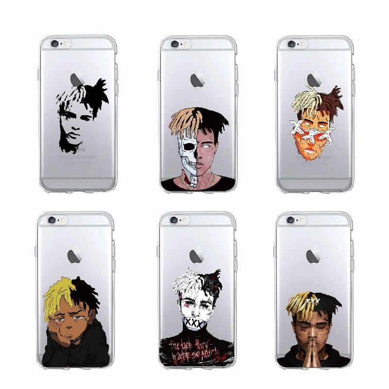 ソフト TPU 電話ケースカバー iphone 11 プロマックス 7 7 プラス 6 6S 8 8 プラス X XS 最大ライブロングヒップホップの盗品 Raper Xxxtentacion