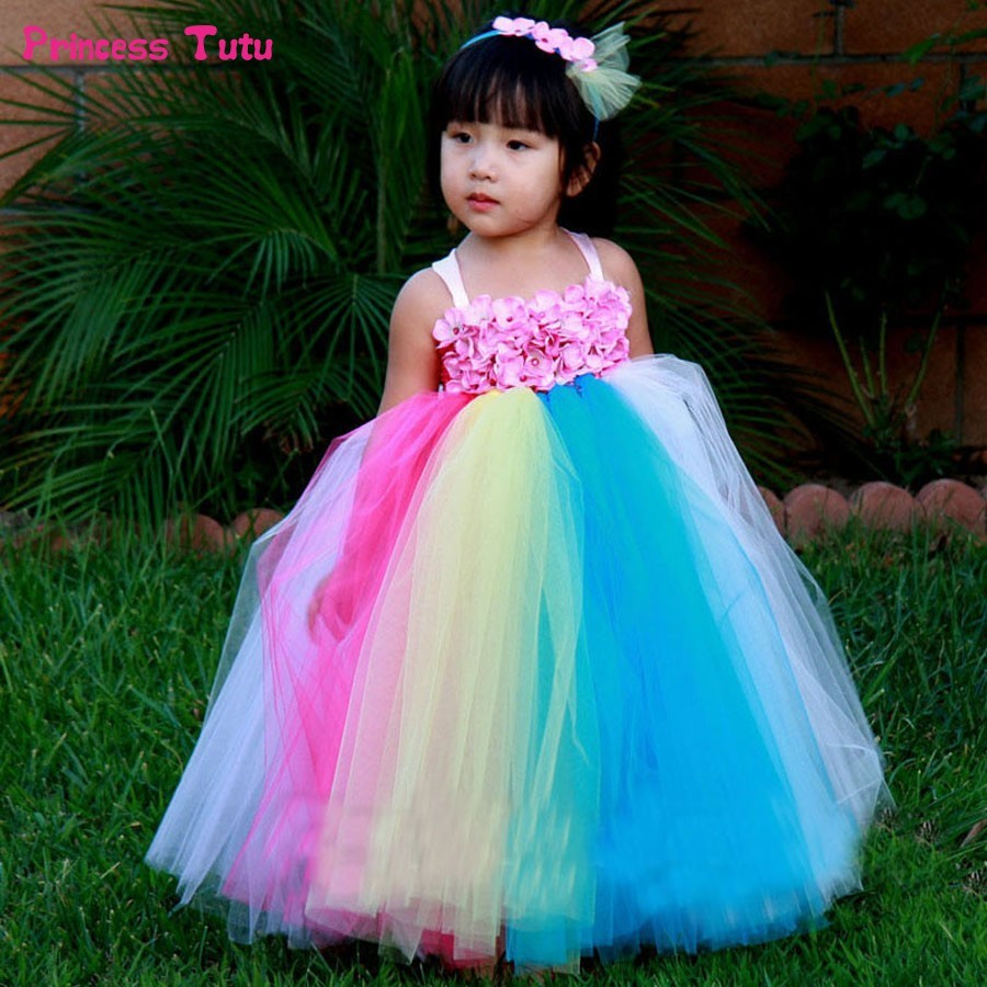 Rainbow Flower Girl Tutu Dress for Children Pageant Party Wedding Ball Gowns Girls Flower Girl Dresses Kids Easter Dress Costume chiffon girls formal wedding dress flower girl evening dresses floor length kids graduation gowns children floral pleat costume