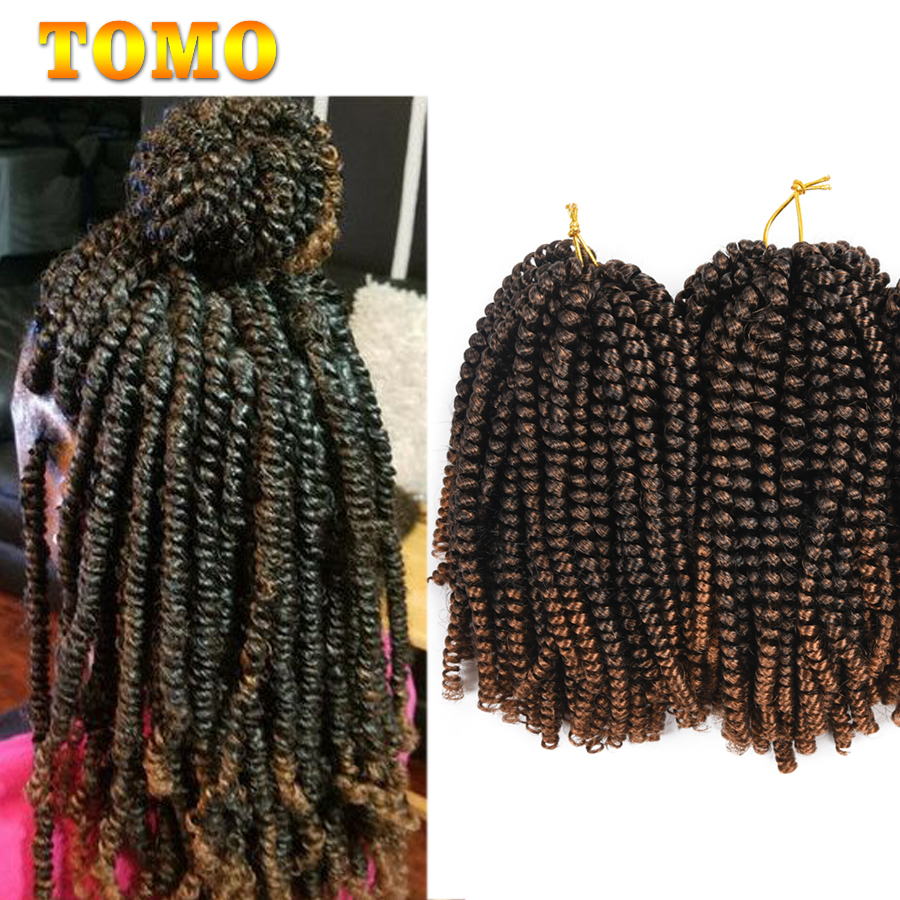 TOMO 8Inch Crochet Braids Ombre Spring Twist Hair Kanekalon Synthetic Hair Extensions Braids Kinky Curly Twists 30Roots