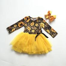 Mùa thu đông bé gái trẻ em quần áo cotton da báo Hoa Hướng Dương REN VÁY TUTU DRESS Boutique hoa đầu gối chiều dài phù hợp với nơ