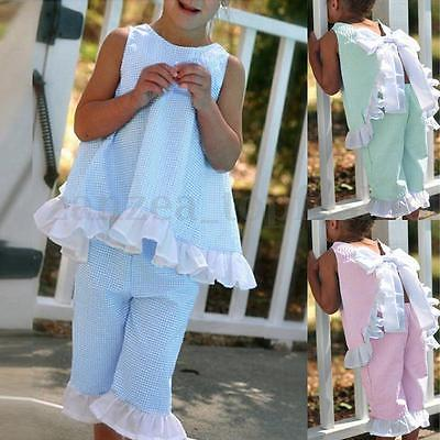 2017 2PCS Kids Baby Girls Summer Sleeveless Outfits Clothes Bow T-shirt Tops+Pants Clothes Set 2016 hot selling baby kids girls one piece sleeveless heart dots bib playsuit jumpsuit t shirt pants outfit clothes 2 7y