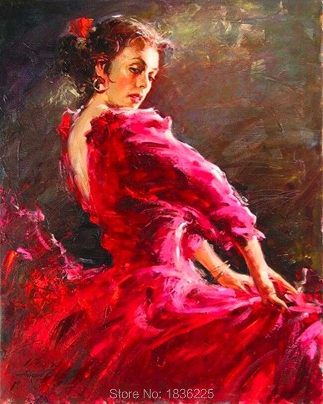 Ballerino di danza classica Immagine Tela Pittura per la Decorazione Soggiorno dipinta a Mano Astratta Moderna Pittura A Olio su Tela Wall Art
