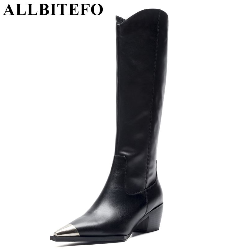 все цены на ALLBITEFO new spring genuine leather+pu pointed toe thick heel women boots brand high heels women knee high boots girls shoes онлайн