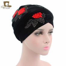 New Luxury Women Velvet Turban Headband Red Rose Diamante Extra Long Velvet Turban Head Wraps Hijab Head Scarf Turbante