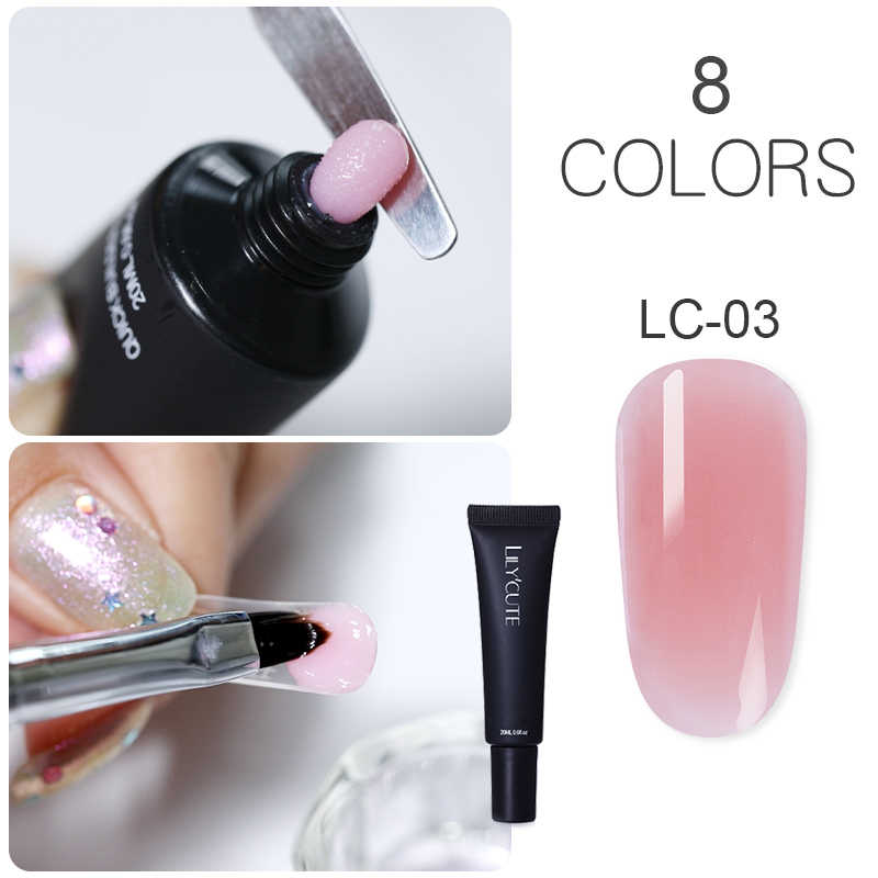 LILYCUTE 20ml Quick Extension Poly UV Gel Roze Wit Clear Crystal LED Acryl Builder Tips Gel Nail Art Gel